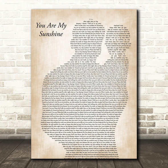 Johnny Cash You Are My Sunshine Father & Baby Decorative Wall Art Gift Song Lyric Print