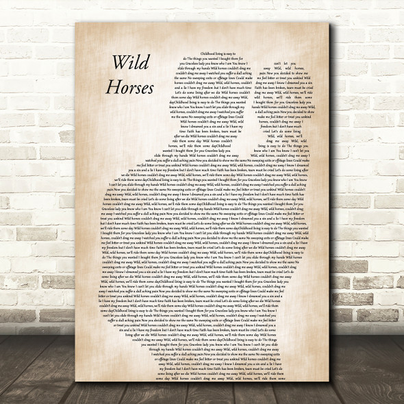 The Rolling Stones Wild Horses Father & Baby Decorative Wall Art Gift Song Lyric Print