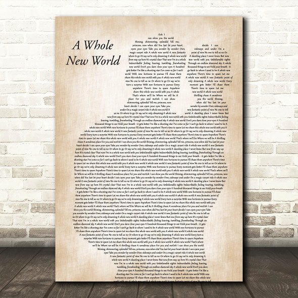 Peabo Bryson & Regina Belle A Whole New World Father & Baby Wall Art Song Lyric Print