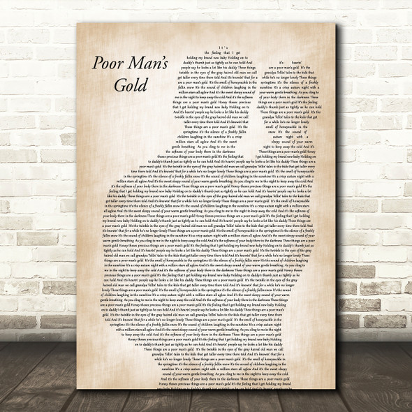 Elvis Presley Poor Man's Gold Father & Baby Decorative Wall Art Gift Song Lyric Print