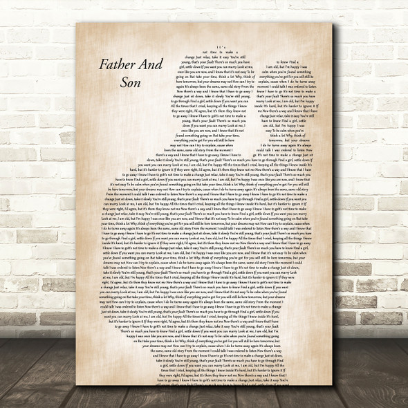 Cat Stevens Father And Son Father & Baby Decorative Wall Art Gift Song Lyric Print