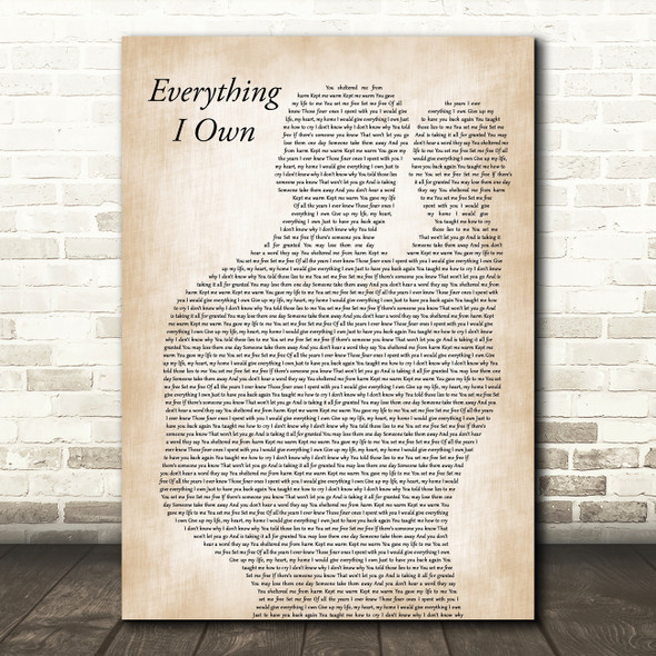 Bread Everything I Own Father & Baby Decorative Wall Art Gift Song Lyric Print
