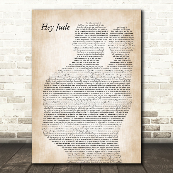 The Beatles Hey Jude Father & Baby Decorative Wall Art Gift Song Lyric Print