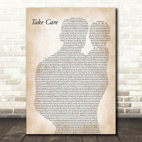Copeland Take Care Father & Baby Decorative Wall Art Gift Song Lyric Print