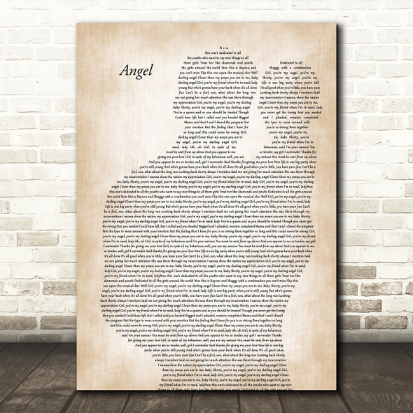 Shaggy Angel Father & Baby Decorative Wall Art Gift Song Lyric Print