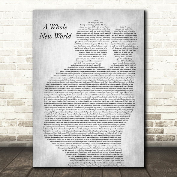 Peabo Bryson & Regina Belle A Whole New World Father & Baby Grey Wall Art Gift Song Lyric Print