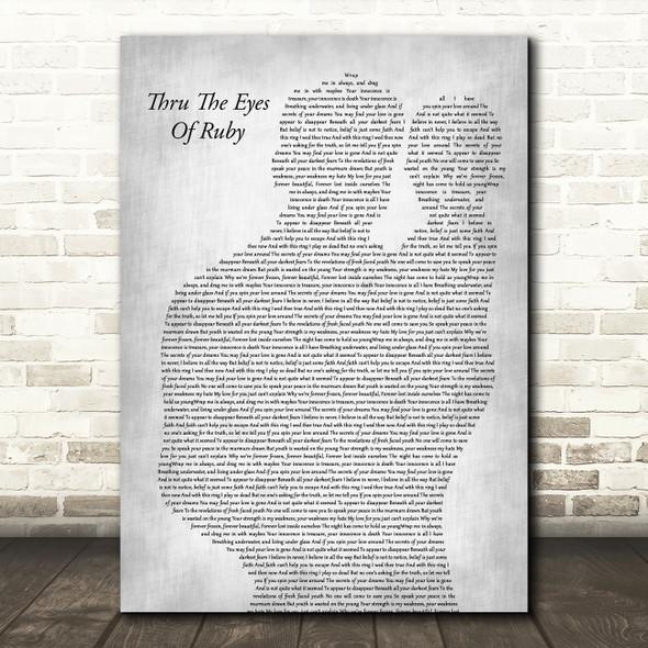Smashing Pumpkins Thru The Eyes Of Ruby Father & Baby Grey Decorative Gift Song Lyric Print
