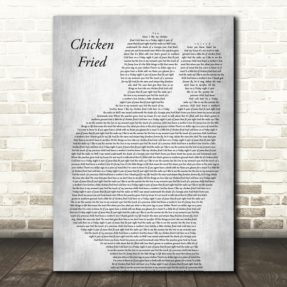 Zac Brown Band Chicken Fried Father & Baby Grey Decorative Wall Art Gift Song Lyric Print