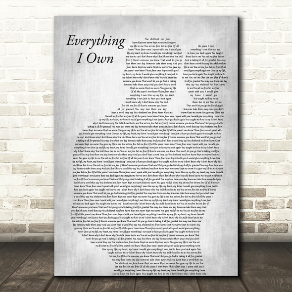 Bread Everything I Own Father & Baby Grey Decorative Wall Art Gift Song Lyric Print