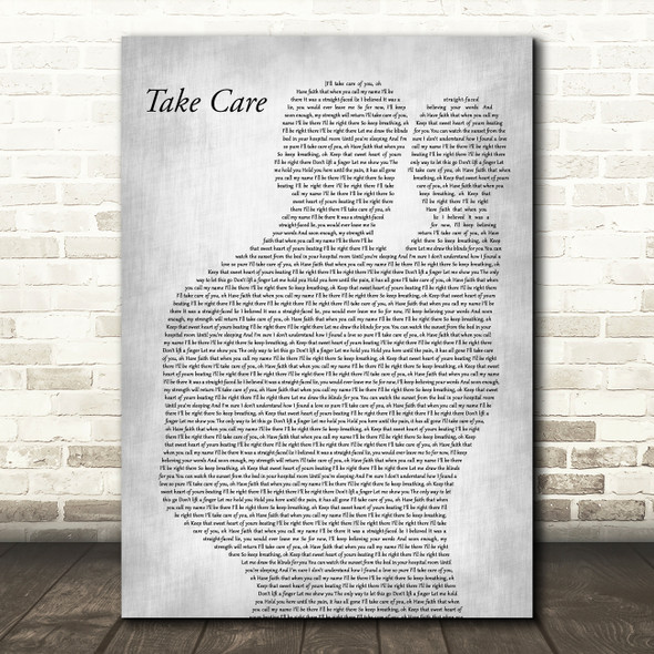 Copeland Take Care Father & Baby Grey Decorative Wall Art Gift Song Lyric Print