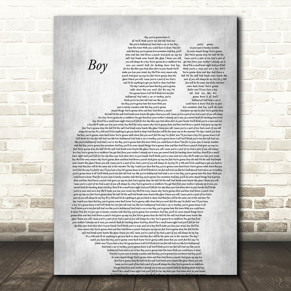 Lee Brice Boy Father & Baby Grey Decorative Wall Art Gift Song Lyric Print