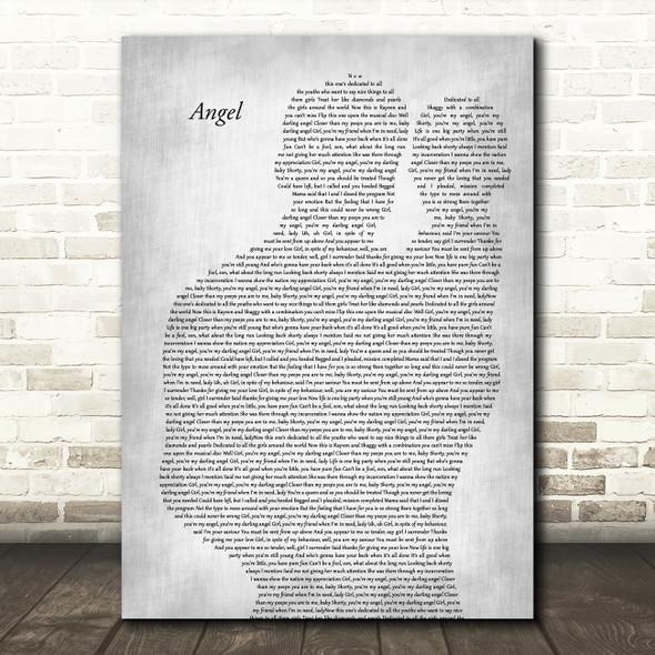 Shaggy Angel Father & Baby Grey Decorative Wall Art Gift Song Lyric Print
