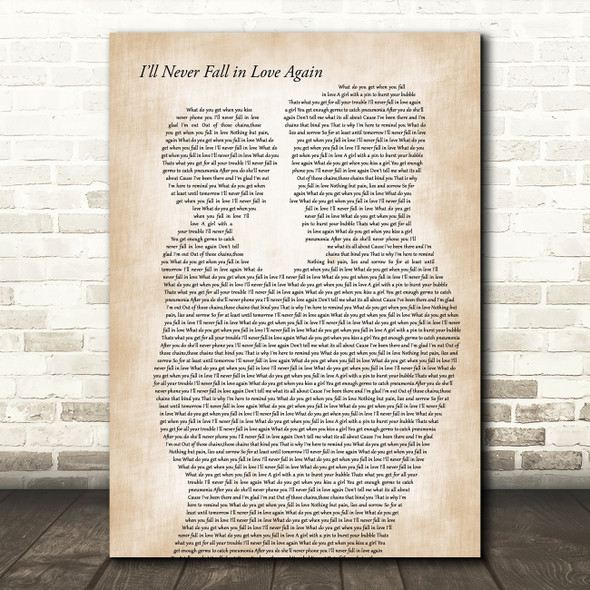 Deacon Blue I'll Never Fall in Love Again Father & Child Decorative Gift Song Lyric Print