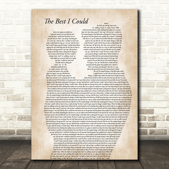 Paul Carrack The Best I Could Father & Child Decorative Wall Art Gift Song Lyric Print