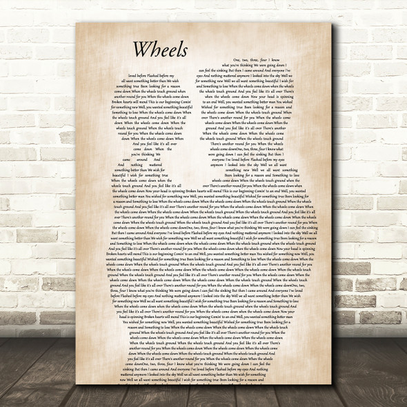 Foo Fighters Wheels Father & Child Decorative Wall Art Gift Song Lyric Print