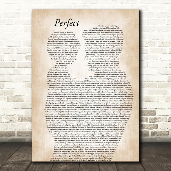 Ed Sheeran Perfect Father & Child Decorative Wall Art Gift Song Lyric Print