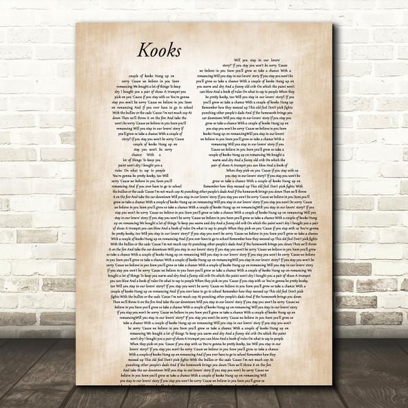 David Bowie Kooks Father & Child Decorative Wall Art Gift Song Lyric Print