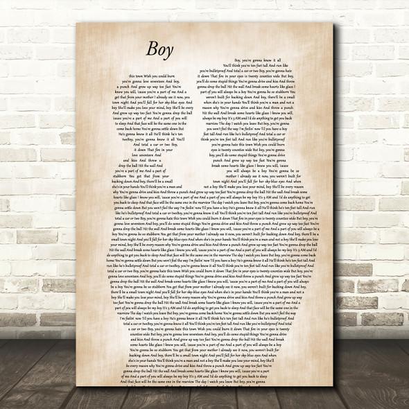 Lee Brice Boy Father & Child Decorative Wall Art Gift Song Lyric Print