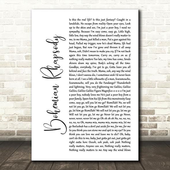 Queen Bohemian Rhapsody White Script Song Lyric Quote Print