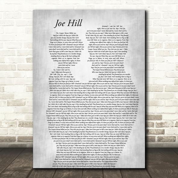 Joan Baez Joe Hill Father & Child Grey Decorative Wall Art Gift Song Lyric Print