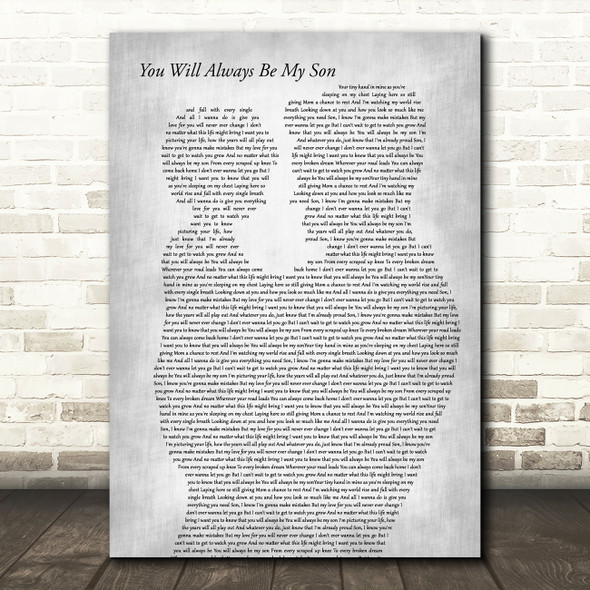 Anthem Lights You Will Always Be My Son Father & Child Grey Song Lyric Print