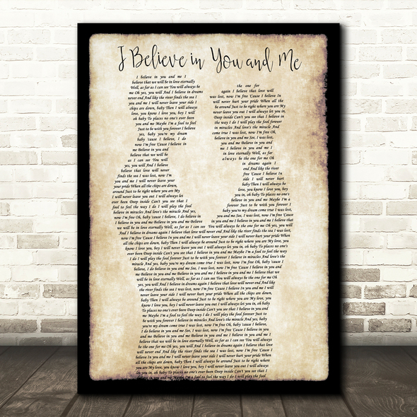 Whitney Houston I Believe in You and Me Gay Couple Two Men Dancing Wall Art Gift Song Lyric Print