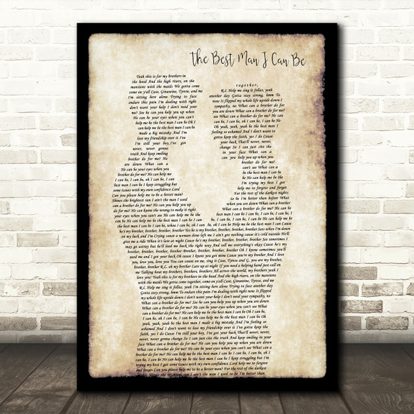 Tyrese The Best Man I Can Be Gay Couple Two Men Dancing Decorative Gift Song Lyric Print