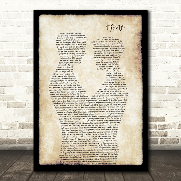 Michael Buble Home Gay Couple Two Men Dancing Decorative Wall Art Gift Song Lyric Print