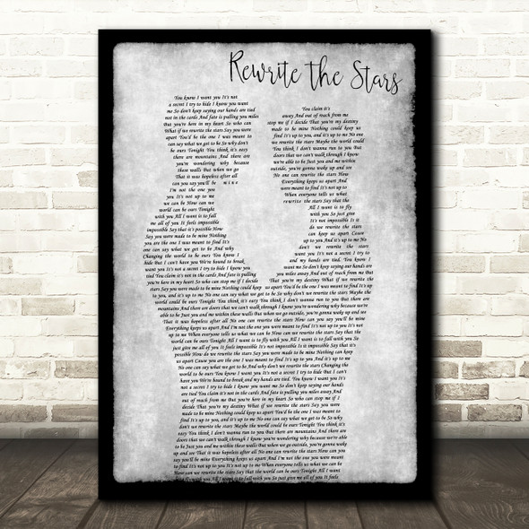 Zac Efron, Zendaya - GREATEST SHOWMAN Rewrite the Stars Gay Couple Two Men Dancing Grey Song Lyric Print