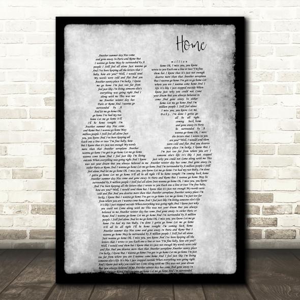 Michael Buble Home Gay Couple Two Men Dancing Grey Decorative Wall Art Gift Song Lyric Print