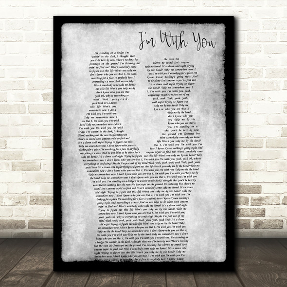 Avril Lavigne I'm With You Gay Couple Two Men Dancing Grey Decorative Gift Song Lyric Print