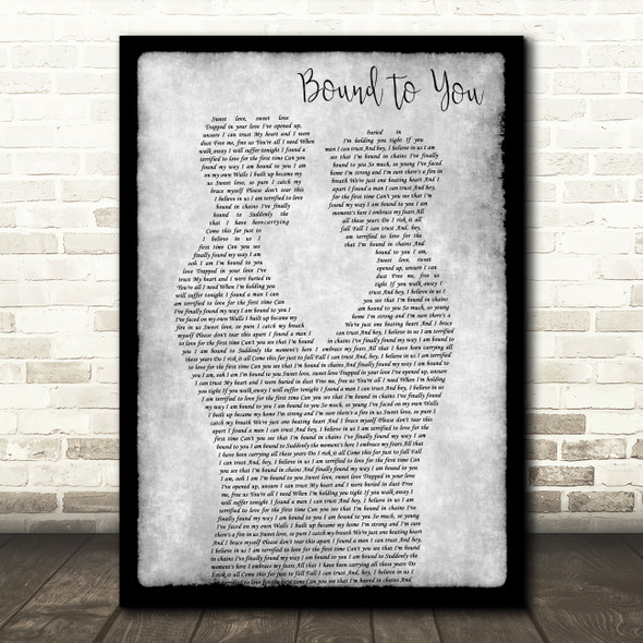 Christina Aguilera Bound To You Gay Couple Two Men Dancing Grey Gift Song Lyric Print