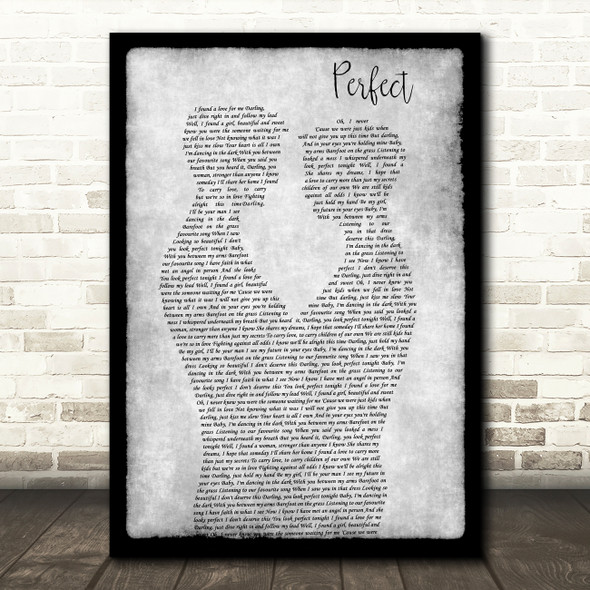 Ed Sheeran Perfect Gay Couple Two Men Dancing Grey Decorative Gift Song Lyric Print