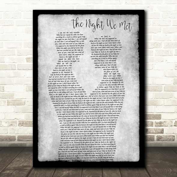 Lord Huron The Night We Met Gay Couple Two Men Dancing Grey Song Lyric Print
