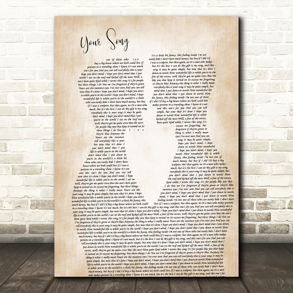 Elton John Your Song Two Men Gay Couple Wedding Decorative Wall Art Gift Song Lyric Print