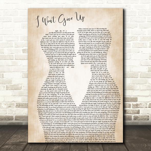 Jason Mraz I Won't Give Up Two Men Gay Couple Wedding Decorative Gift Song Lyric Print