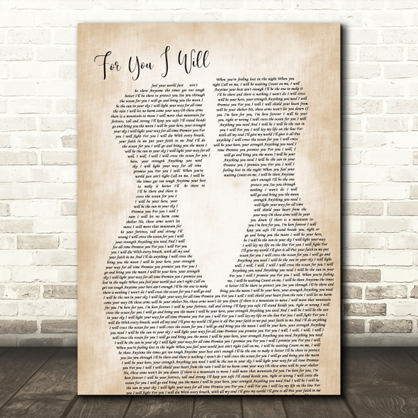 Monica For You I Will Two Men Gay Couple Wedding Decorative Gift Song Lyric Print
