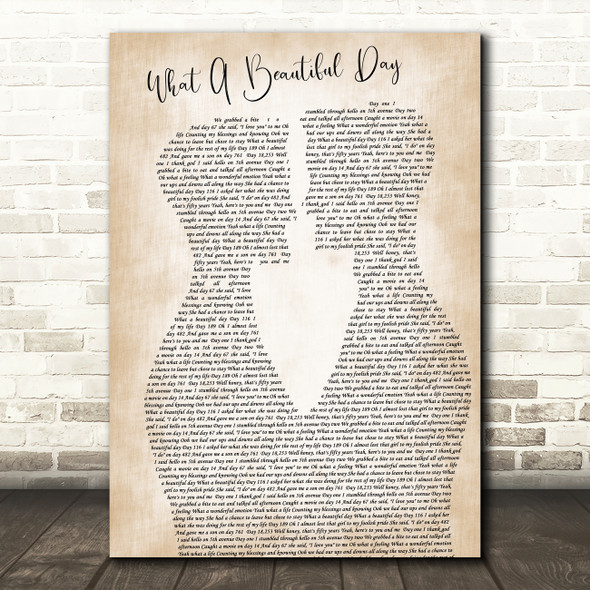 Chris Cagle What A Beautiful Day Two Men Gay Couple Wedding Song Lyric Print