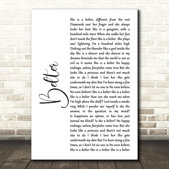 Gerry Cinnamon Belter White Script Song Lyric Quote Print