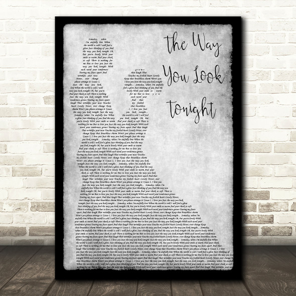 Tony Bennett The Way You Look Tonight Grey Man Lady Dancing Song Lyric Print