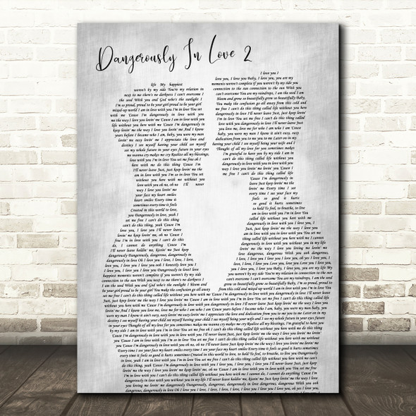 Beyoncé Dangerously In Love 2 Two Men Gay Couple Wedding Grey Wall Art Song Lyric Print