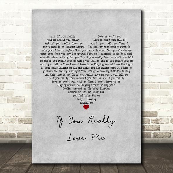 Stevie Wonder If You Really Love Me Grey Heart Decorative Wall Art Gift Song Lyric Print