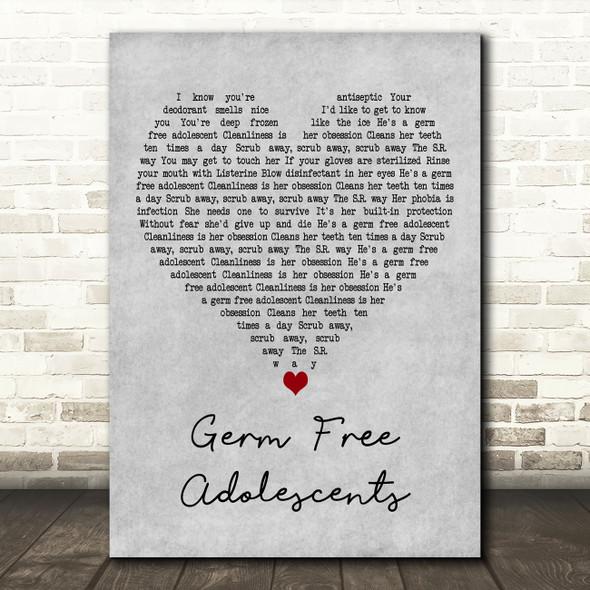 X-Ray Spex Germ Free Adolescents Grey Heart Decorative Wall Art Gift Song Lyric Print