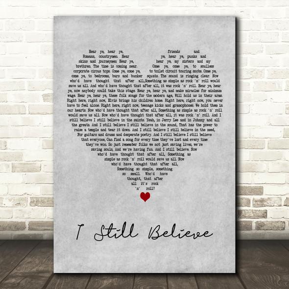Frank Turner I Still Believe Grey Heart Decorative Wall Art Gift Song Lyric Print