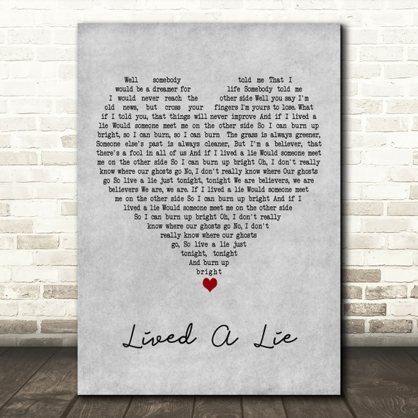 You Me At Six Lived A Lie Grey Heart Decorative Wall Art Gift Song Lyric Print