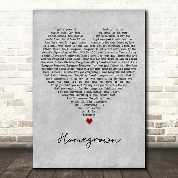 Zac Brown Band Homegrown Grey Heart Decorative Wall Art Gift Song Lyric Print