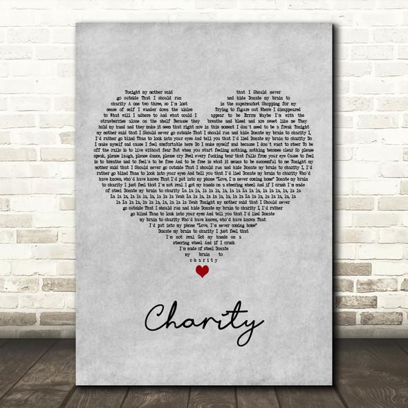 YUNGBLUD charity Grey Heart Decorative Wall Art Gift Song Lyric Print