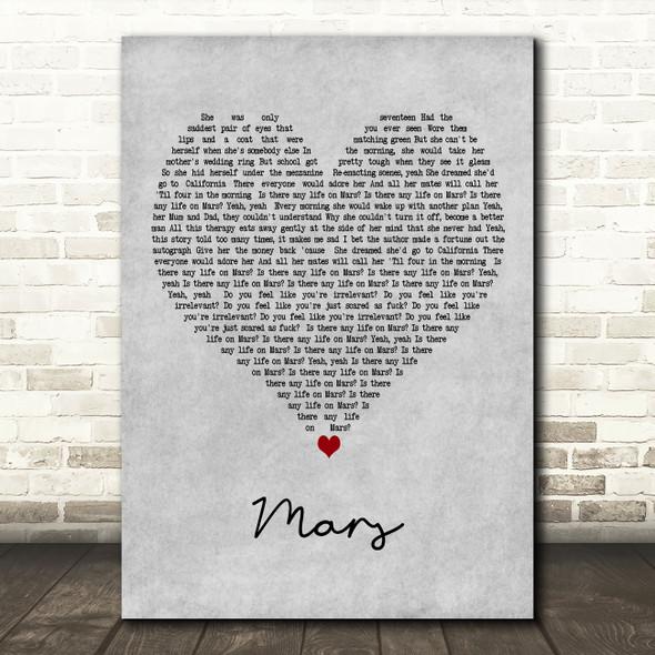 YUNGBLUD Mars Grey Heart Decorative Wall Art Gift Song Lyric Print