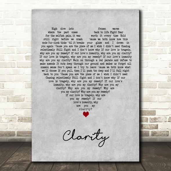 Zedd Clarity Grey Heart Decorative Wall Art Gift Song Lyric Print