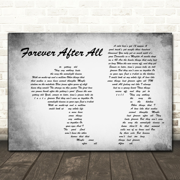 Luke Combs Forever After All Man Lady Couple Grey Decorative Wall Art Gift Song Lyric Print